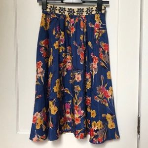 Anthropologie Edme & Esyllte Floral Silk Skirt